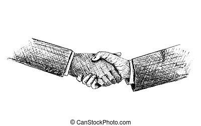Sketch of Hand shake between two businessman. Vector Illustration.