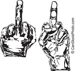 Sketch of Hand show fuck off with the middle finger. Vector...