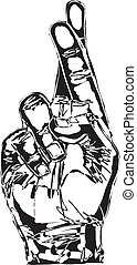Sketch of Hand with crossed fingers. Vector illustration