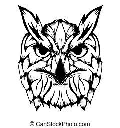 Sketch of head owl