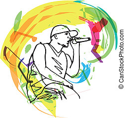 Sketch of hip hop singer singing into a microphone. Vector...