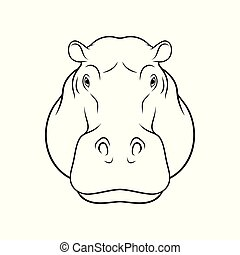 Sketch of hippopotamus head, portrait of forest animal black and white hand drawn vector Illustration