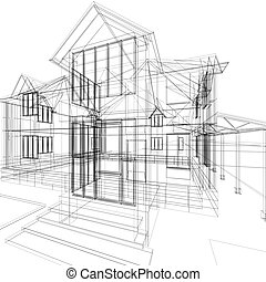 Sketch of house - Abstract sketch of house. 3d architecture...