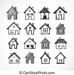 Sketch of houses on white background. Vector illustration