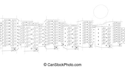 sketch of housing area and sun