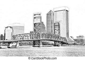 Sketch of Jacksonville Florida Skyline