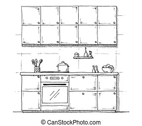Sketch of kitchen furniture on a white background. Vector illustration of kitchen in a sketch style.