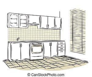 Sketch of kitchen interior