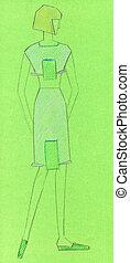 sketch of knitted women wear - sketch of fashion model -...