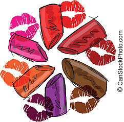 Sketch of lipsticks. Vector illustration