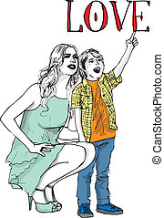 Sketch of little boy having fun with her beautiful mother. Vector illustration