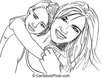Sketch of little girl having fun with her beautiful mother....