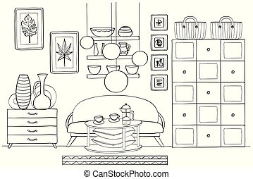 Sketch of living room interior, Black and white