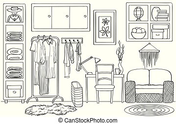 Sketch of living wardrobe room interior, Black and white