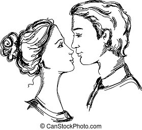Sketch of loving couple. Man and woman are looking at each other and going to kiss