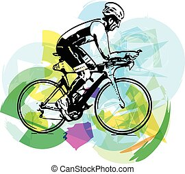 Sketch of male on a bicycle
