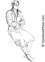 sketch of man in a dressing-gown sits barefoot - the sketch...