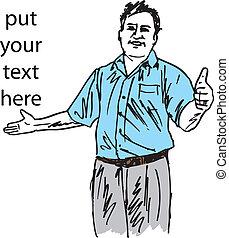Sketch of man making his thumb up saying OK sign symbol. Vector illustration
