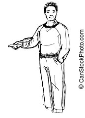 sketch of man points his index finger - vector sketch of man...