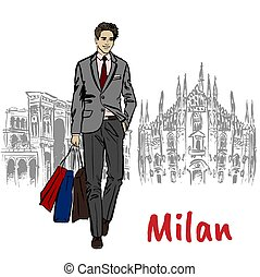 Sketch of man with shopping bags near Milan Cathedral, Duomo...