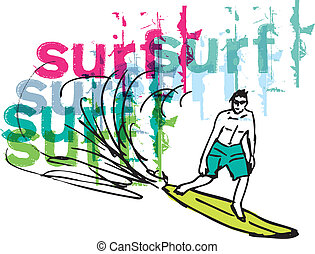 Sketch of man with surfboard. Vector illustration