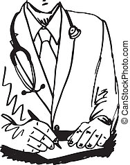 Sketch of Medical doctor with stethoscope sitting at a desk...