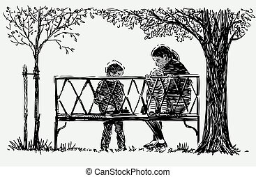 Sketch of mother with his little kids sitting on park bench while strolling