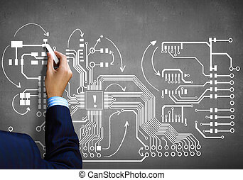 Sketch of motherboard - Close up image human hand drawing ...