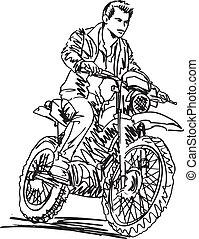 Sketch of motocross bike increase speed in track. Vector...
