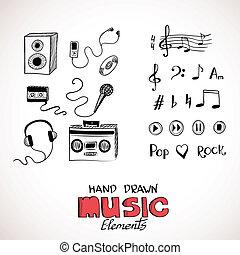 Sketch of music elements. Eps 8 vector illustration