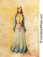 sketch of mystical woman in beautiful ornamental dress. -...