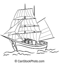 Sketch of nautical sailing vessel in a sea