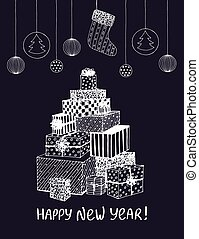 Sketch of New Year presents and gifts in shape of Christmas Tree. Vector hand drawn doodle for holiday design, postcard, greeting card, invitation, banner, sticker. White on black. Modern calligraphy