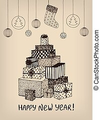 Sketch of New Year presents and gifts in shape of Christmas Tree. Vector hand drawn doodle for holiday design, postcard, greeting card, invitation, banner, sticker. Retro, vintage