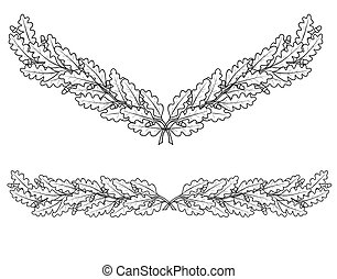 sketch of oak branches
