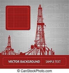 Sketch of oil rig over blueprint. Vector illustration.