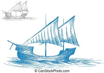 Sketch of old medieval sailing ship