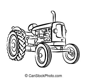 Sketch of old tractor. - Sketch of an old farmer tractor.