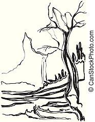 Sketch of old trees. Vector illustration landscape