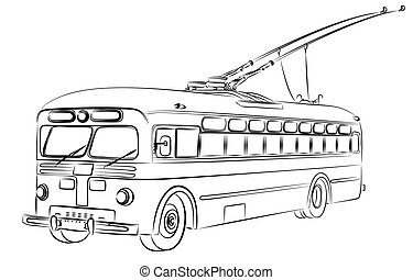 Sketch of old trolleybus. - Sketch of the old city ...