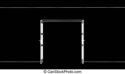 Sketch of opening wire-frame door. 3d Illustration video
