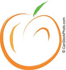 peach - sketch of orange peach fruit