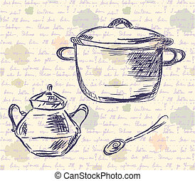 Sketch of pan and spoon on the old time background