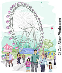 Sketch of People at a Theme Park