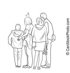 Sketch of people standing