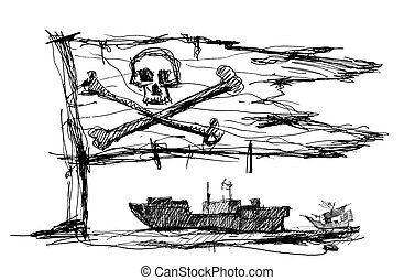 Sketch of pirates on the sea