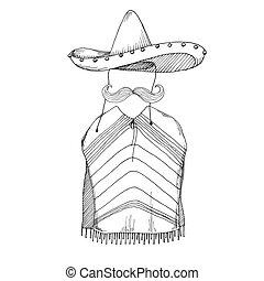 Sketch of poncho, mustache and sombrero. Vector...