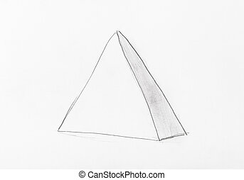 sketch of pyramid geometric figure by pencil
