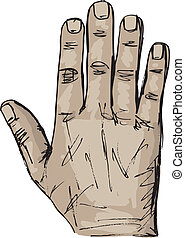 Sketch of right and left hand. Vector illustration
