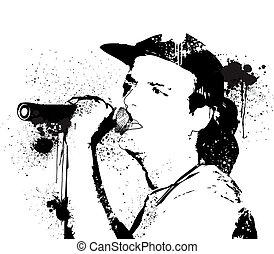 Sketch of rocker singing vector